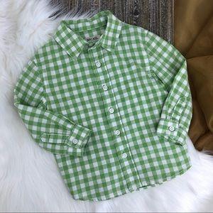 CHEROKEE Green and White Checkered Shirt